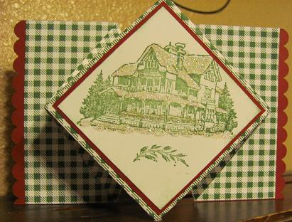 Christmas Lodge Pop Up card 006