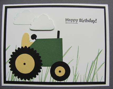 John Deere Tractor Punch Art Card