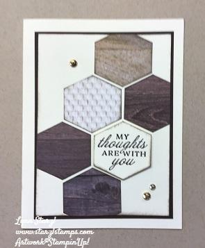 Hexagon wood look card wm